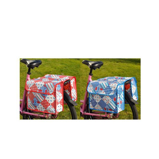 Blauwe fietstas met ruit print