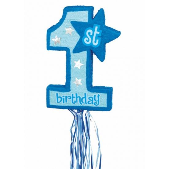 Blauwe pinata voor de 1e verjaardag