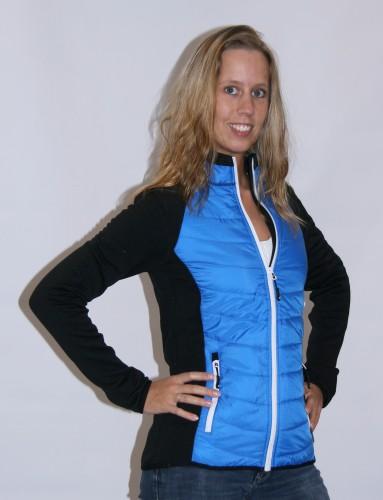 Dames stretch fleece voorjaar jas zwart met blauw