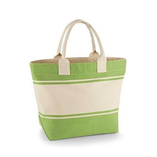 Groene met beige boodschappentas