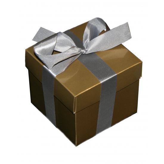 Kado verpakking doosje goud 10 cm