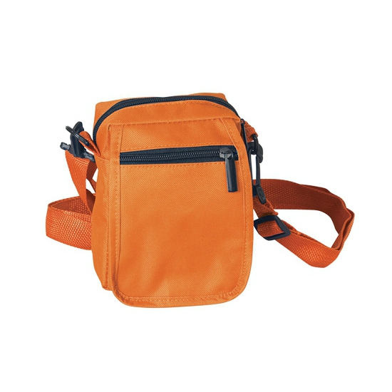 Oranje tasje met rits 15 cm