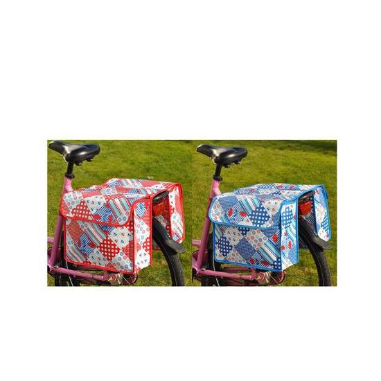 Rode fietstas met ruitjes print