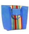 Blauwe koeltas met gekleurde strepen 30 l