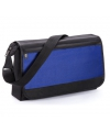 Blauwe schoudertas met voorvak