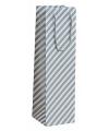 Flessen kadotasje zilver gestreept 10 x 35 cm