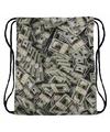 Geld print rugtas met rijgkoord