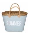 Lichtgrijze rieten strandtas summer 20 liter