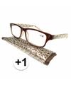 Modieuze leesbril 1 fantasy bruin