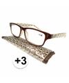 Modieuze leesbril 3 fantasy bruin