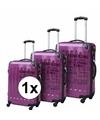 Paarse reiskoffer met tekst 18 inch