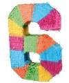 Pinata gekleurde cijfer 6