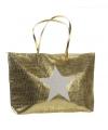 Strandtas met ster goud 50 x 30 cm