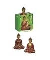 Boeddha beeld rood goud in cadeautasje 8 cm