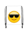 Emoticon gymtasje met zonnebril wit
