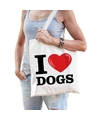 Katoenen tasje i love dogs honden