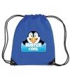Mister cool de pinguin rugtas gymtas blauw voor kinderen