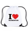 Nylon i love badminton rugzak wit met rijgkoord