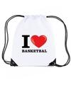 Nylon i love basketbal rugzak wit met rijgkoord