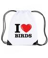 Nylon i love birds vogels rugzak wit met rijgkoord