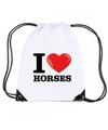 Nylon i love horses paarden rugzak wit met rijgkoord