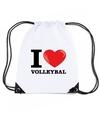 Nylon i love volleybal rugzak wit met rijgkoord