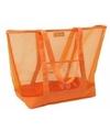 Oranje transparante strandtas 38 cm