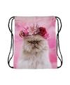 Rugtas roze met rijgkoord en kat poes print