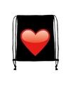 Rugtas zwart met rijgkoord en rood hart