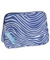 Toilettas zebraprint blauw 30 x 21 x 10 cm